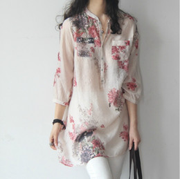 Wholesale Summer Korean Blouse Long Sleeve - 2017 new summer fresh floral size cotton in the long loose blouse seven Korean women's Literature