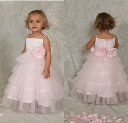 Wholesale Low Price Communion Dresses - Low Price Ball Gown Floor Length Pink Tiered Tulle Flower Girls' Dresses With Straps Handmade Flowers Lovely First Communicate Dresses
