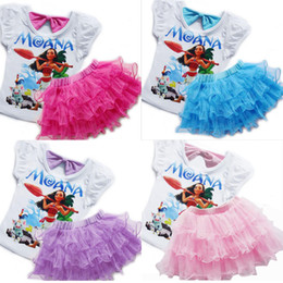 Wholesale Tshirt Tops Skirts - New Summer Girl Moana Dress Set Baby Kids Cartoon Short Sleeve Tops Tshirt + Lace Tulle Cake Skirt 2pcs Clothes Suit Children Outfits W017