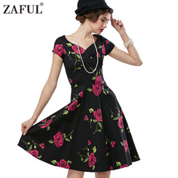 Wholesale Cut Work Dress - Wholesale- ZAFUL Summer Women Vintage Dress Retro Robe feminino Rockabilly Cut Out V-neck Rose Print Swing Party Dresses Female Vestidos