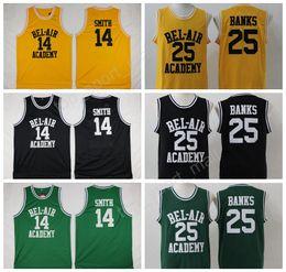 Wholesale Tv 14 - The Fresh Prince 14 Will Smith Jersey Men OF BEL-AIR BEL AIR Basketball 25 Carlton Banks Jerseys Academy Yellow Black Green (TV Sitcom)