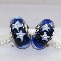 Wholesale Clear Glass Cube Beads - 5pcs Starry Night Sky Charms 925 Sterling Silver Thread Murano Glass Beads with Clear Cz Fit Pandora European Charm Bracelets