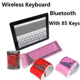 Wholesale Usb Wireless Silicone Keyboards - Waterproof keyboard Silicone softe Keyboard can roll it up bluetooth wireless USB Keyboard with 85 keys multi color with box shipping by DHL