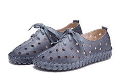 Wholesale Bottom Pregnant - sell like hot cakes Spring summer Genuine Leather hollow out female sandals pregnant women shoes casual shoes flat bottom handmade shoes