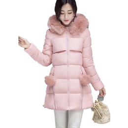 Wholesale Woman Goose Down Coat Sale - 2016 Women Winter Warm Long Down Cotton Coat Female Fur Collar Thicken Slim Hooded Coats Plus Size Parka Women Jackets Hot Sale