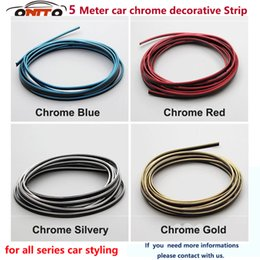 Wholesale Mazda Door Chrome - 5M Large quality 5 Meter decoration Car PVC decorative tape Auto Chrome Strips Fit all car styling