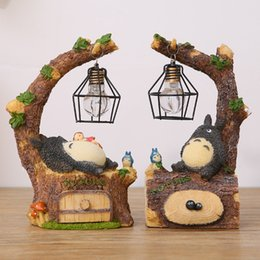 Wholesale Table Bedside Lamp Nightlight - Wholesale- New Fashion Craft Resin Totoro Night Light LED Table Lamps Bedside Nightlights For Kids Birthday Gift leds Bed Room Decor