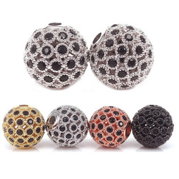 Wholesale Silver Filigree 12mm - New Hollow Filigree Round Metal Bead,Micro Pave Black CZ Metal Bead,8mm 10mm 12mm Real Gold Plated Beads For Jewelry Making Loose Beads 4Pcs