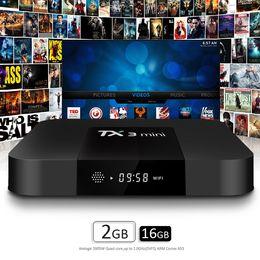 Wholesale Ddr3 Cpu - TX3 Mini Set-top TV Box 2GB RAM DDR3 16GB Android 7.1 Amlogic S905W Quad-core CPU 2.4GHz WiFi ROM 4K Media Player