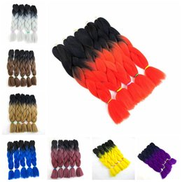 Kanekalon Ombre braiding hair Bulk synthetic crochet braids twist 24inch 80G two tone wholesale hair extensions Coupon