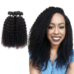 Wholesale Malaysian Curly Colored Weave - Peruvian Human Hair Bundles Brazilian Indian Malaysian Virgin Hair Weaves Natural Black 3 piece A Lot Can Be Colored Free Shipping