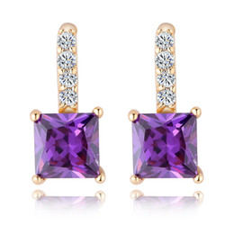 Wholesale Earring Stud Yellow Gold - White Red Purple Fashion Women Earrings For Wedding 18K Yellow Gold Plated Big Square Austrian Crystal Stud Earrings Luxury Jewlery