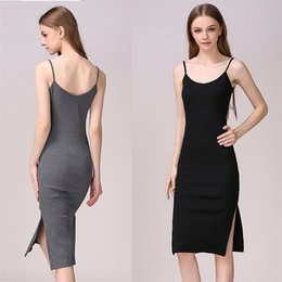 Wholesale Slim Fit Maxi Dresses - 2017 Gray Black Pure Knitted Cotton Bodycon Slim Fit Maxi Slip Dress Women Sexy High Split Off Shoulder Spaghetti Strap Pencil Dress