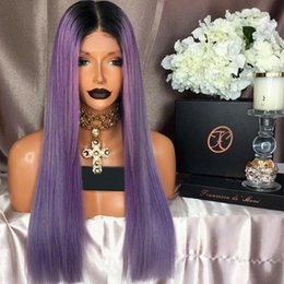 Wholesale Long Hair Tone - Diosa Two Tone Purple Full Lace Wigs With Baby Hair Ombre Lace Front Wigs Ombre Human Hair Wigs 1bTPurple Brazilian