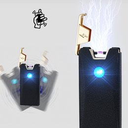Wholesale Usb Cigar - USB Electric cigarette cigar lighter Arc Flameless Rechargeable Windproof pulse tobacco pipe accessory ligther wholesale lighter
