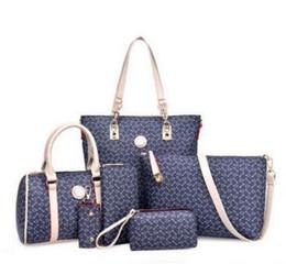 Wholesale Crochet Bags Purses - 2017 6pcs lot S815 with Women Ms. girl embossed handbags shoulder bags messenger bags purse wallets new fashion handbag shoulder bag Messeng
