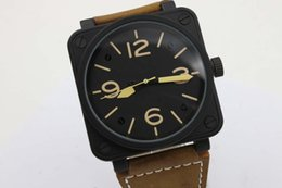 Wholesale Wrist Leather Belt - 2017 New BR Luxury Brand New Black Dial Brown Leather Belt Mens Yellow Stainless Pointer Watch Mens Sports Wrist Watches Ever