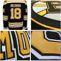 Wholesale Bruins Jerseys - 2016 New Boston Bruins Jersey 18 Happy Gilmore Hockey Jersey black white Men Embroidery Jersey or Custom any player any NO.jerseys