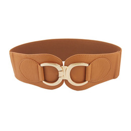 Wholesale Leather D Ring Belts Wholesale - Wholesale- SYB 2016 NEW Gold Tone Double D Ring Buckle Brown Wide Elastic Belt For Woman