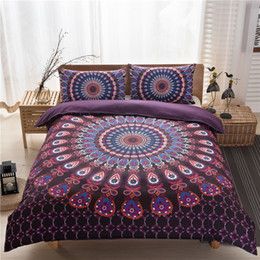 Wholesale King Size Peacock Print Bedding - New Beautiful peacock Bohemia stlye3D Bedding Sets 3pcs Duvet cover pillowcase queen Super King size Purple