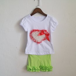 Wholesale Baby Legging Green - lime green legging shorts outfits dress summer cotton girls children outfit white puff sleeve tees t-shirts sets girl baby skinny sets