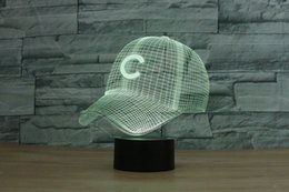 Wholesale Led Nightlights For Kids - Free Shipping 3D Light Chicago Cubs Baseball Team Cap Hat Nightlight Led Desk Table Lamp for Kids Sleeping Light Light Up Toy
