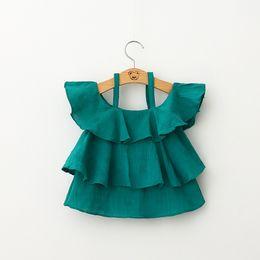 Wholesale Baby High Neck Tops - Fashion high Grade Girls summer tank tops new Baby Kids Clothes girls Off-shoulder princess T shirts Mini dresses children short dress