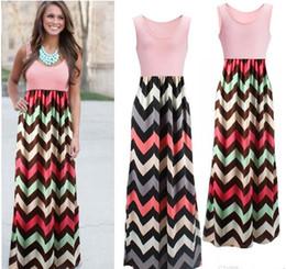Wholesale Halter Dresses Sleeves - Long Dress Women Sleeveless Halter Waves Striped Dresses Beach Party Maxi Dress Patchwork High Waist Dress