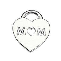 Wholesale Tibetan Silver Love Word Charms - Engraved MOM with Heart Hot Sell Engraved Tibetan Silver Plated Charm Accessory Word Charm Pendant For Bracelet & Necklace Jewelry
