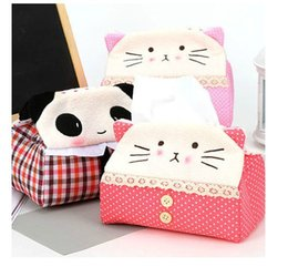 Wholesale Tissue Box Promotions - Wholesale- 2016 Promotion Special Offer Japan Style Seat Type Carro 4169 Cute Fabric Tissue Box Pumping Home With A Cartoon Panda Towels