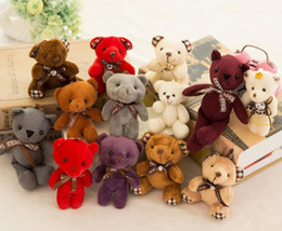 gros porte-clés de ours en peluche Promotion Peluche ours en peluche jouets fille Baby Shower Party Favor bande dessinée clé animal sac pendentifs 12cm cadeaux de Noël