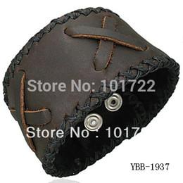 Wholesale Mens Wide Leather Cuff Bracelets - Wholesale- Free Shipment Handmade Wide Mens Leather Cuff Bracelet