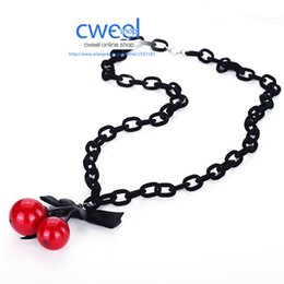 Wholesale Wholesale Women Dresses Trendy - Wholesale-Women Party Statement Cherry Necklaces Mix Bridal Wedding Pendants Colorful Beads Jewelry Big Chains Trendy Dress Accessories