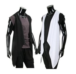 Wholesale Buckle Vests - Wholesale-New Men Fashion Open Collar Casual Vest No Buckle Irregular Solid Color Sleeveless Cardigan Outerwear Plus Size