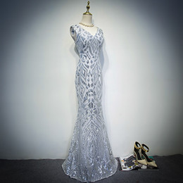 Wholesale Sexy Sequined Party Dresses - 2017 New Design Sexy Shining Silver Prom Dresses Cheap Mermaid Long Sequined Formal Evening Party Gowns Purple Prom Dress Custom Made