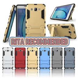 Wholesale Two Phones One Case - Luxury Armor PC+TPU Case with Kickstand for Samsung Galaxy On7 on5 Two in One Defender Hybrid Cases Mobile Phone Bags Shell Covers