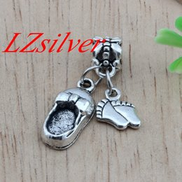Wholesale Baby Foot Charms - HOT ! 100PCs Zinc Alloy Charm Pendants Cute Lovely Baby Feet & baby shoes DIY Jewelry (Antiqued Silver )