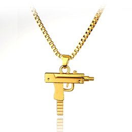 Wholesale Golden Chain Jewelry - 2016 HOT New Engraved Hip Hop For Supreme Gun Shape Uzi Golden Pendant Fine Quality Necklace Gold Chain Popular Fashion Jewelry