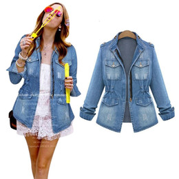 Wholesale Vintage Bomber Jacket Women - Wholesale- 2016 New Fashion Jean Jackets For Women Coat Female Bomber Jacket Denim