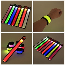 Wholesale Christmas Wrist Strap Wristband Nylon LED Sports Slap bracelets Glowing Light Flash Snap Bracelets For Party Armband