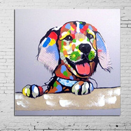 Hot Sell Colorful Dog Hand Painted Modern Cartoon Animals Art Oil Painting Home Wall Decor On High Quality Canvas In Multi Sizes 004