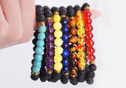 Wholesale Cheap Beads For Jewelry - Lava rock Beads Bracelet New Fashion Cheap Jewelry Chakra Head Bangles Black Lava Stone Buddha Beads Bracelets For Women