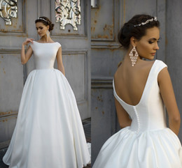 Wholesale Satin Wedding Ball Gown - 2018 Simple Style Milla Nova Wedding Dresses Capped Scoop Neck Backless Button vestido de noiva Bridal Gown Ball Bride Gowns
