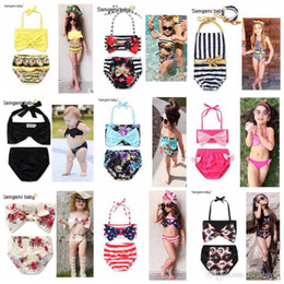 Wholesale Girl Swimsuit Stripe - Mermaid Swimwear Ins Baby Floral Bikini Girls Dot USA Flag Swimsuit Children's Bowknot Stripe Beachwear Fashion Bodysuit Bathing Suit I26