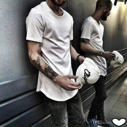 Wholesale Mens Plain Tee Shirts - Mens big and tall Clothing designer citi trends Clothes cotton oversize T shirt homme Curved hem Tee plain white Extended T shirt 10 colors
