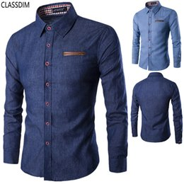 Wholesale Denim Shirt Men - Free shipping!Men's cotton solid color casual long-sleeved shirt Men repair tall quality denim shirt 2 color options Size M-3XL