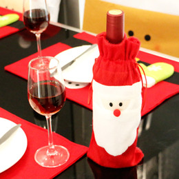 Wholesale Thin Red Tie - Christmas Wine Bottle Covers Red Wine Bags Decoration Santa Snowman Style With Red Pretty Tie 2Pcs With Retail Package Drop Shipping