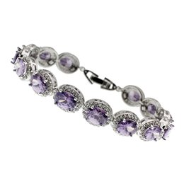 Wholesale Handmade Gemstone Bracelets - Gemstone Links Bracelets 925 Sterling Silver Hermosa White Topaz Amethyst Charm Handmade Women Jewelry Wholesale Gifts