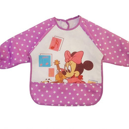 Wholesale Sleeved Bibs - Wholesale- Baby Bibs Pocket Mickey Waterproof Anti-cartoon Bib Animals Cute Kid Clothes Eat Long-sleeved Clothing TH0009