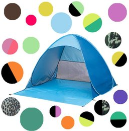 Wholesale Blue Shelter - utdoor Quick Automatic Opening Tents Instant Portable Beach Tent Shelter Hiking Camping Family Tents For 2-3 Person KKA1884
